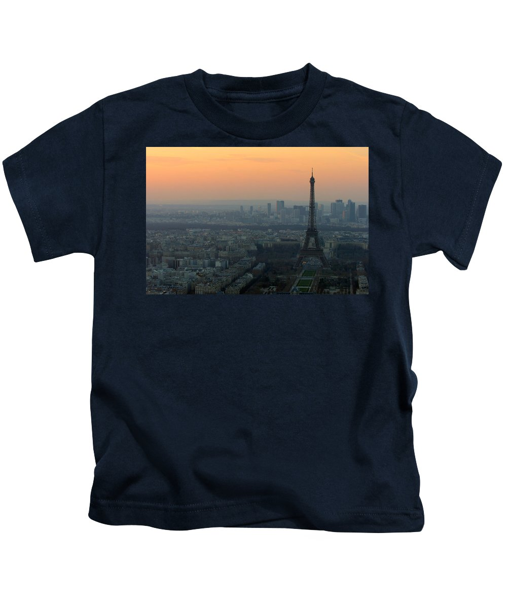Eiffel Kids T-Shirt featuring the photograph Eiffel Tower At Dusk by Sebastian Musial