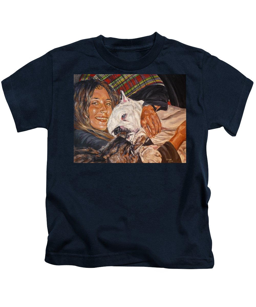 Pet Kids T-Shirt featuring the painting Elvis And Friend by Bryan Bustard