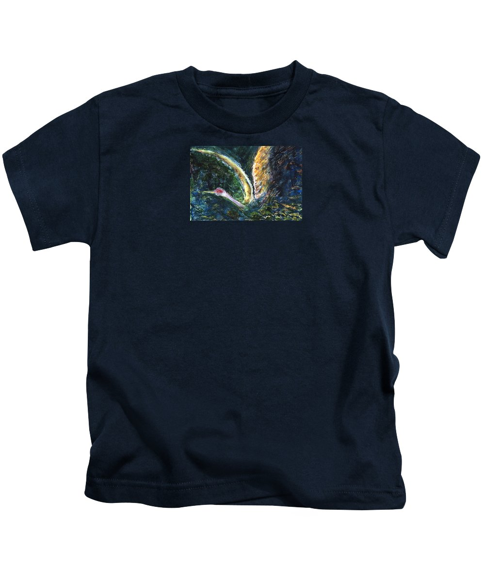 Bird Kids T-Shirt featuring the painting Emergence by Ishwar Malleret