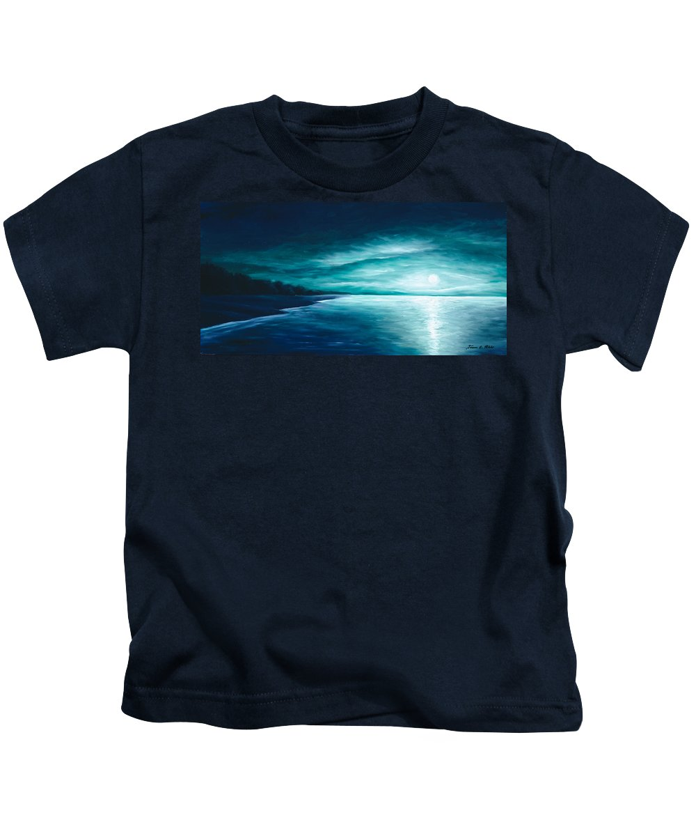 Moonscape Kids T-Shirt featuring the painting Enchanted Moon I by James Christopher Hill
