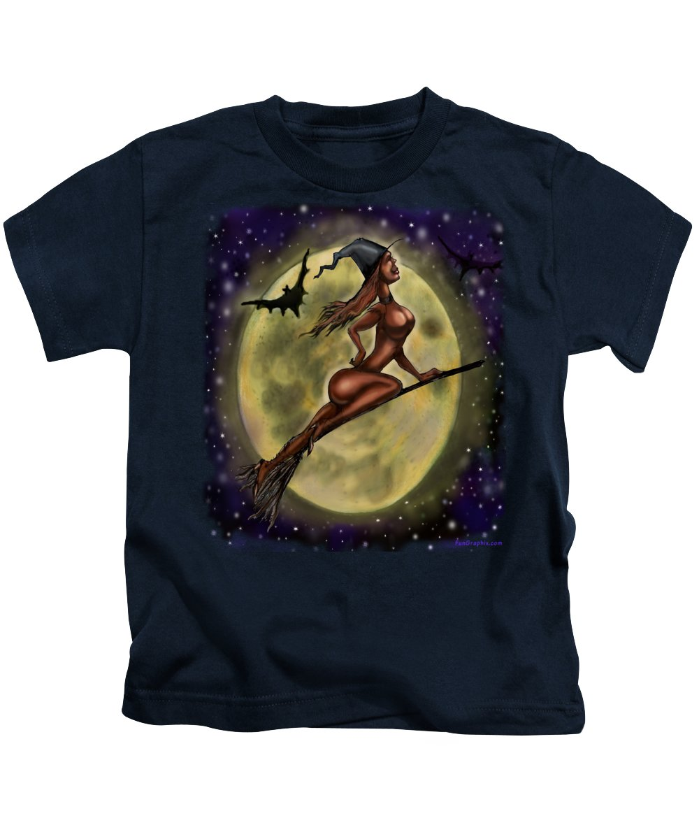 Halloween Kids T-Shirt featuring the digital art Enchanting Halloween Witch by Kevin Middleton