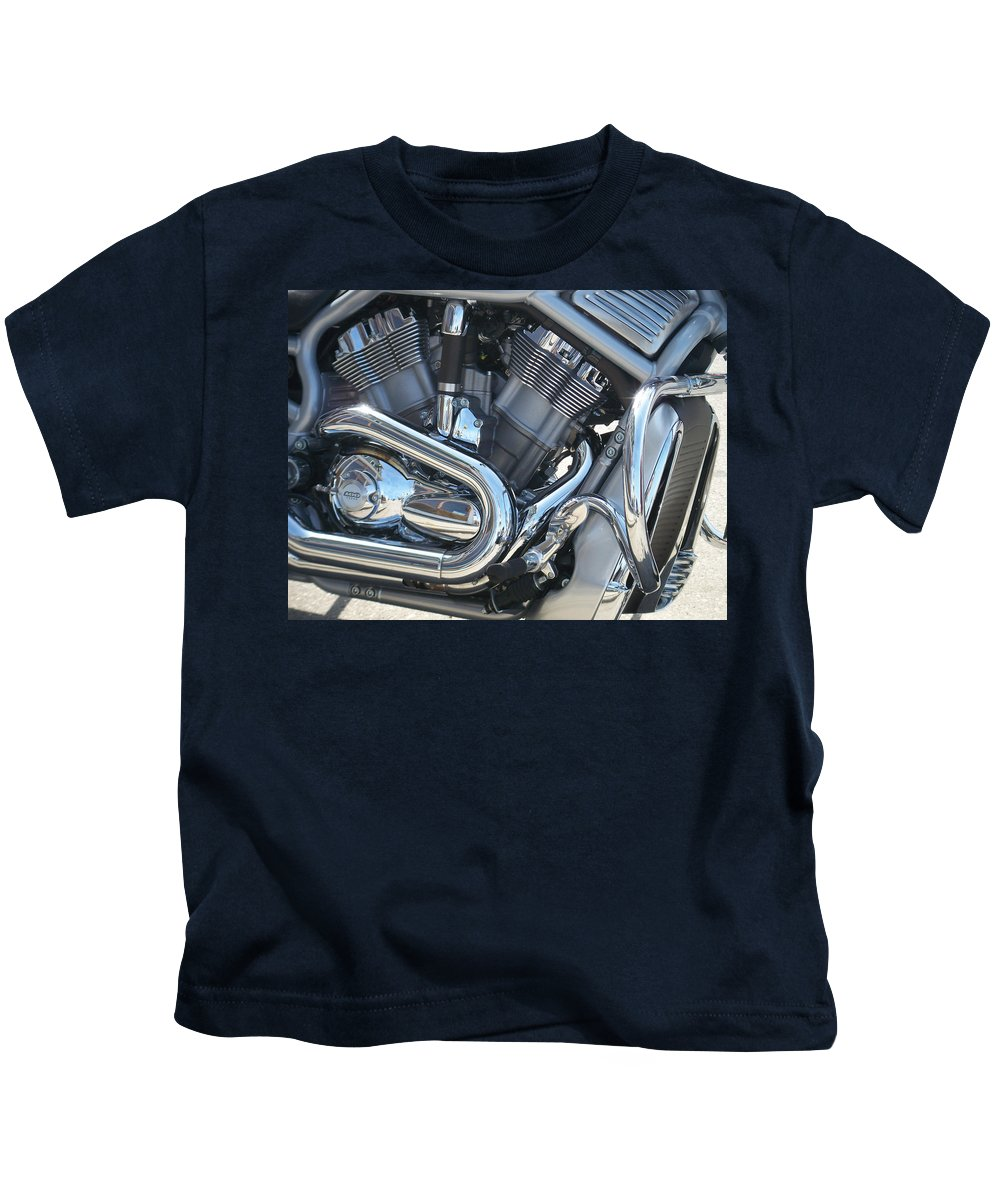 Motorcycle Kids T-Shirt featuring the photograph Engine Close-up 1 by Anita Burgermeister