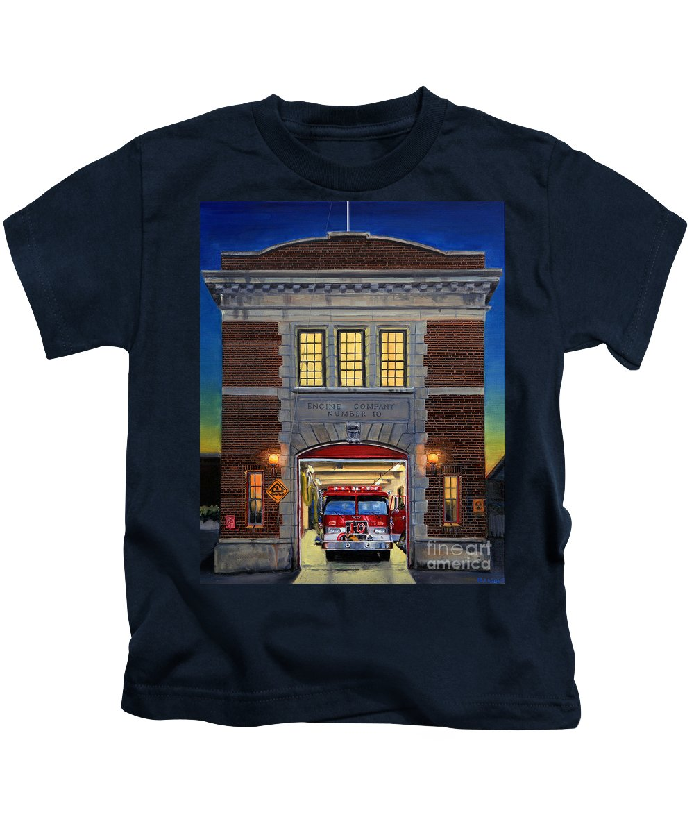 Firehouse Kids T-Shirt featuring the painting Engine Company 10 by Paul Walsh