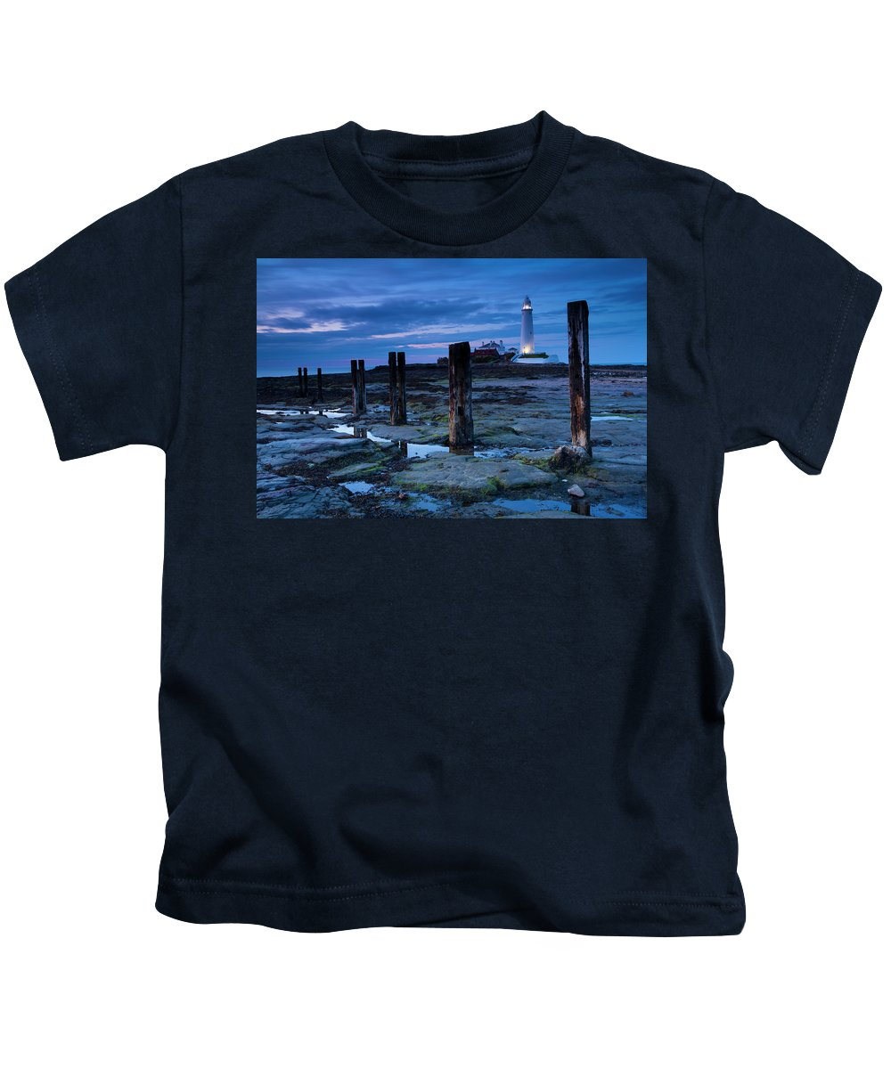 Northumberland Kids T-Shirt featuring the photograph England, Tyne And Wear, St Marys Lighthouse by Jason Friend