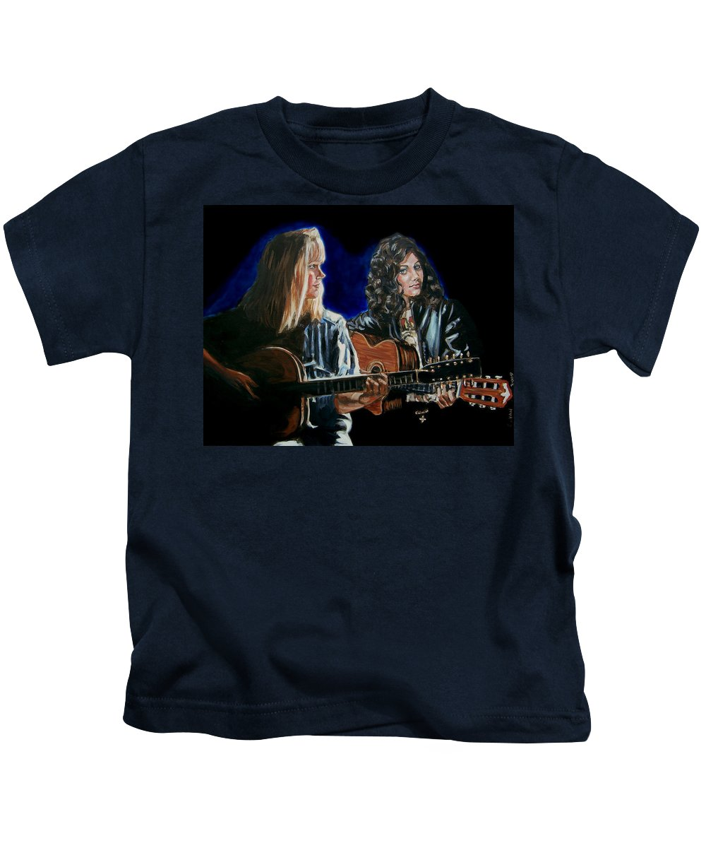 Katie Melua Kids T-Shirt featuring the painting Eva Cassidy And Katie Melua by Bryan Bustard