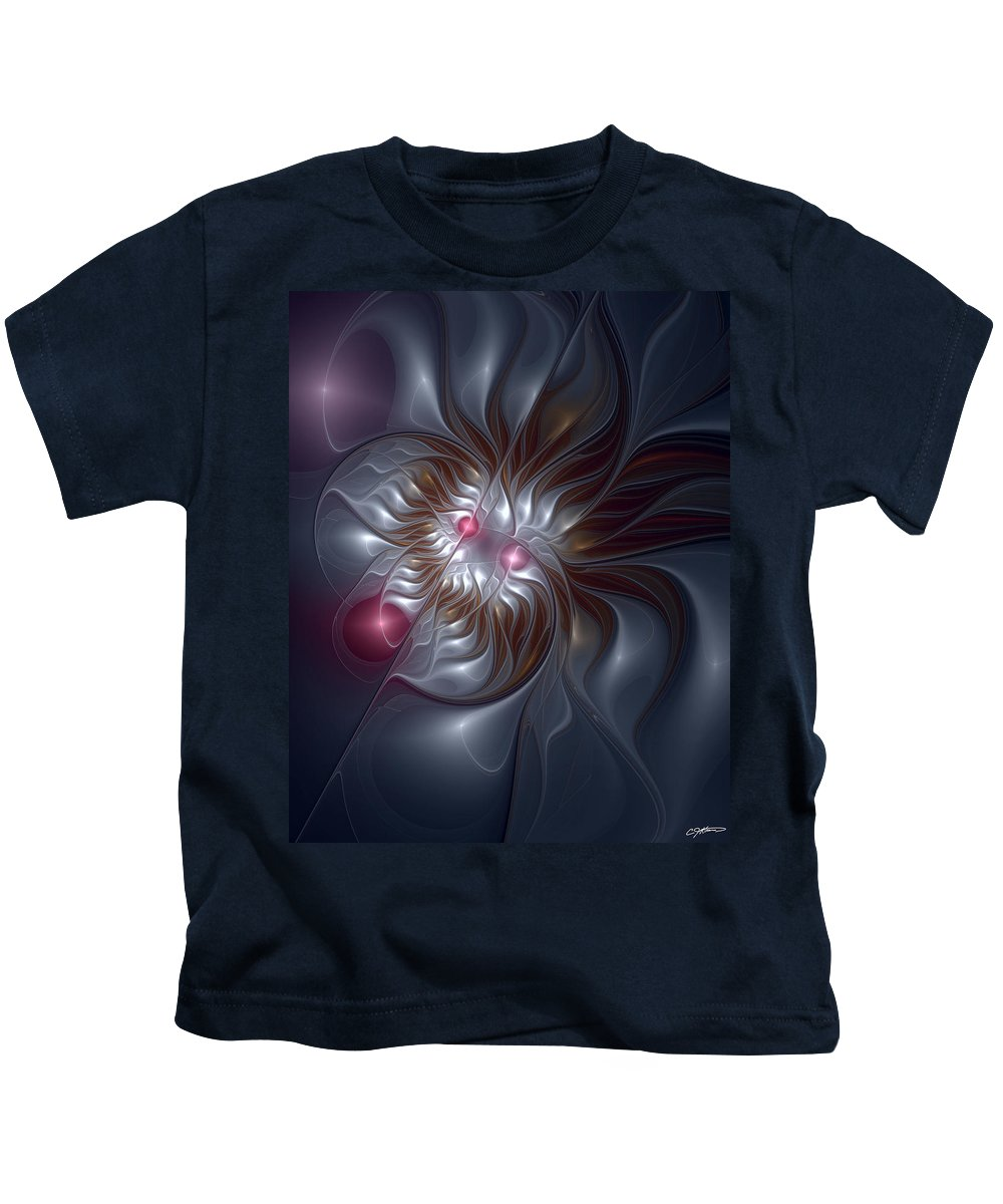 Abstract Kids T-Shirt featuring the digital art Evanescing Emanations by Casey Kotas