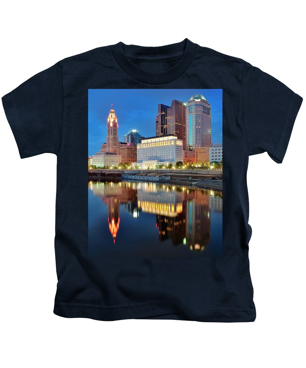 Columbus Kids T-Shirt featuring the photograph Evening Reflections by Frozen in Time Fine Art Photography