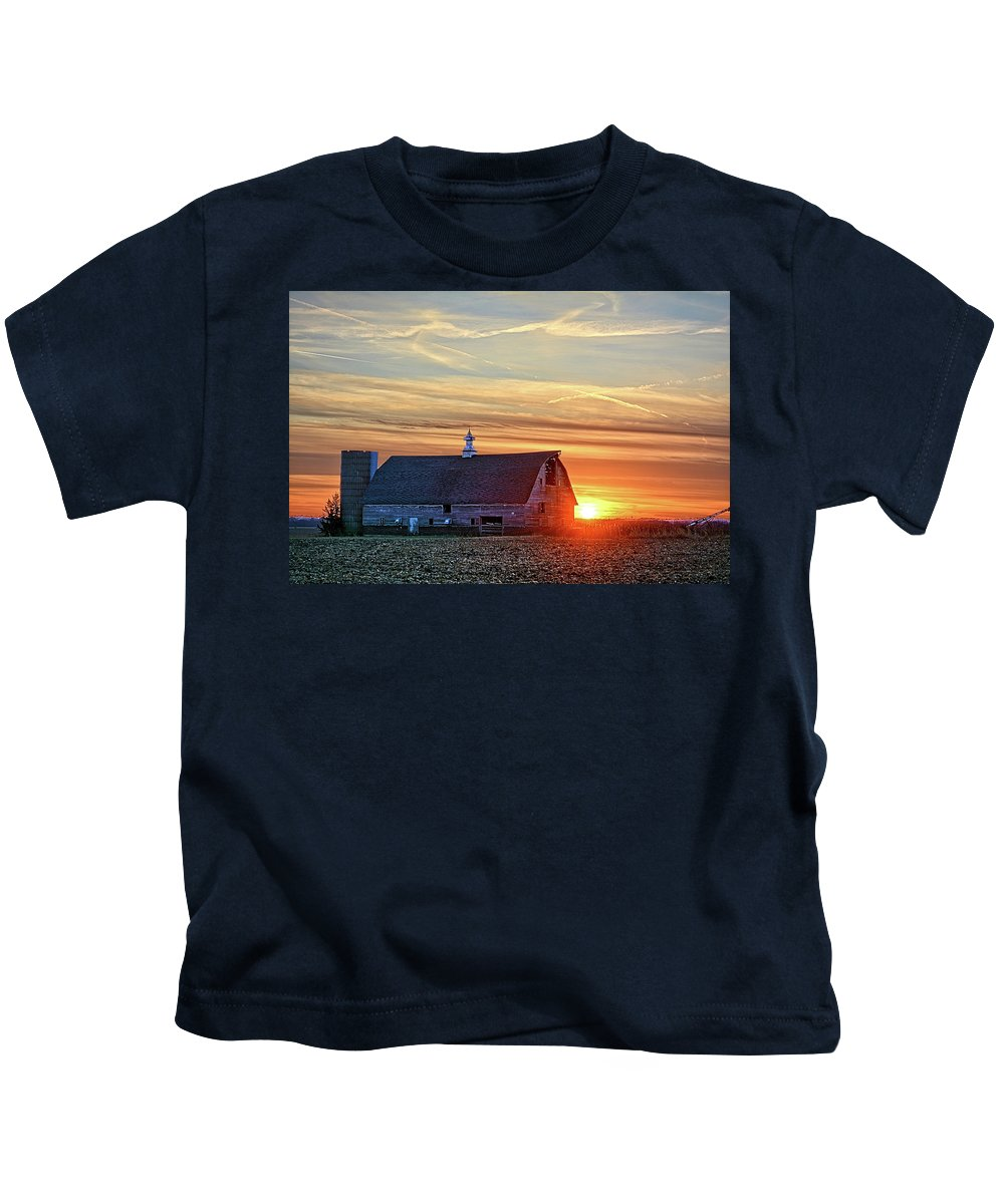 Barn Kids T-Shirt featuring the photograph Evergreen Sunset by Bonfire Photography