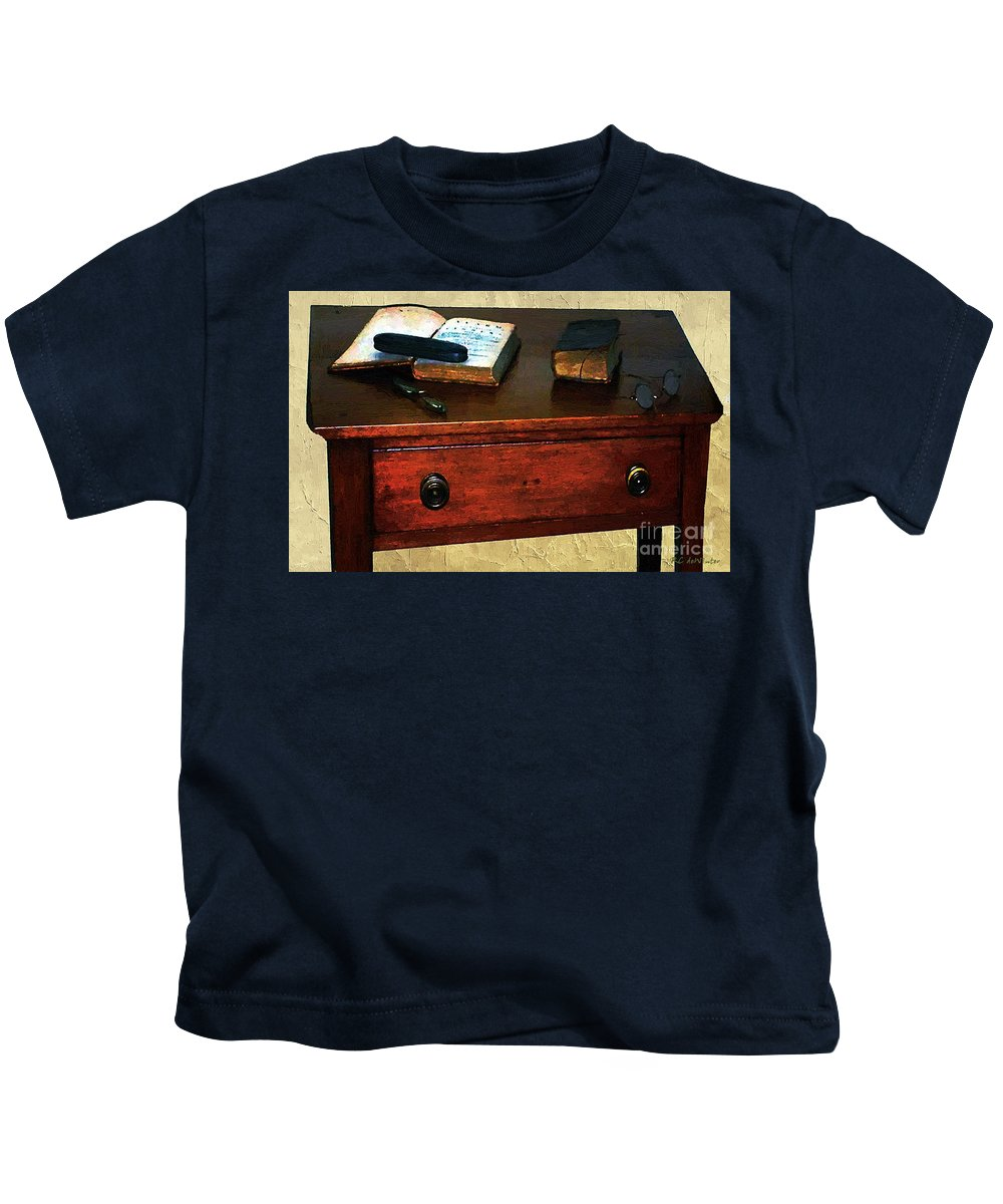 Americana Kids T-Shirt featuring the painting Everyday Reading by RC DeWinter