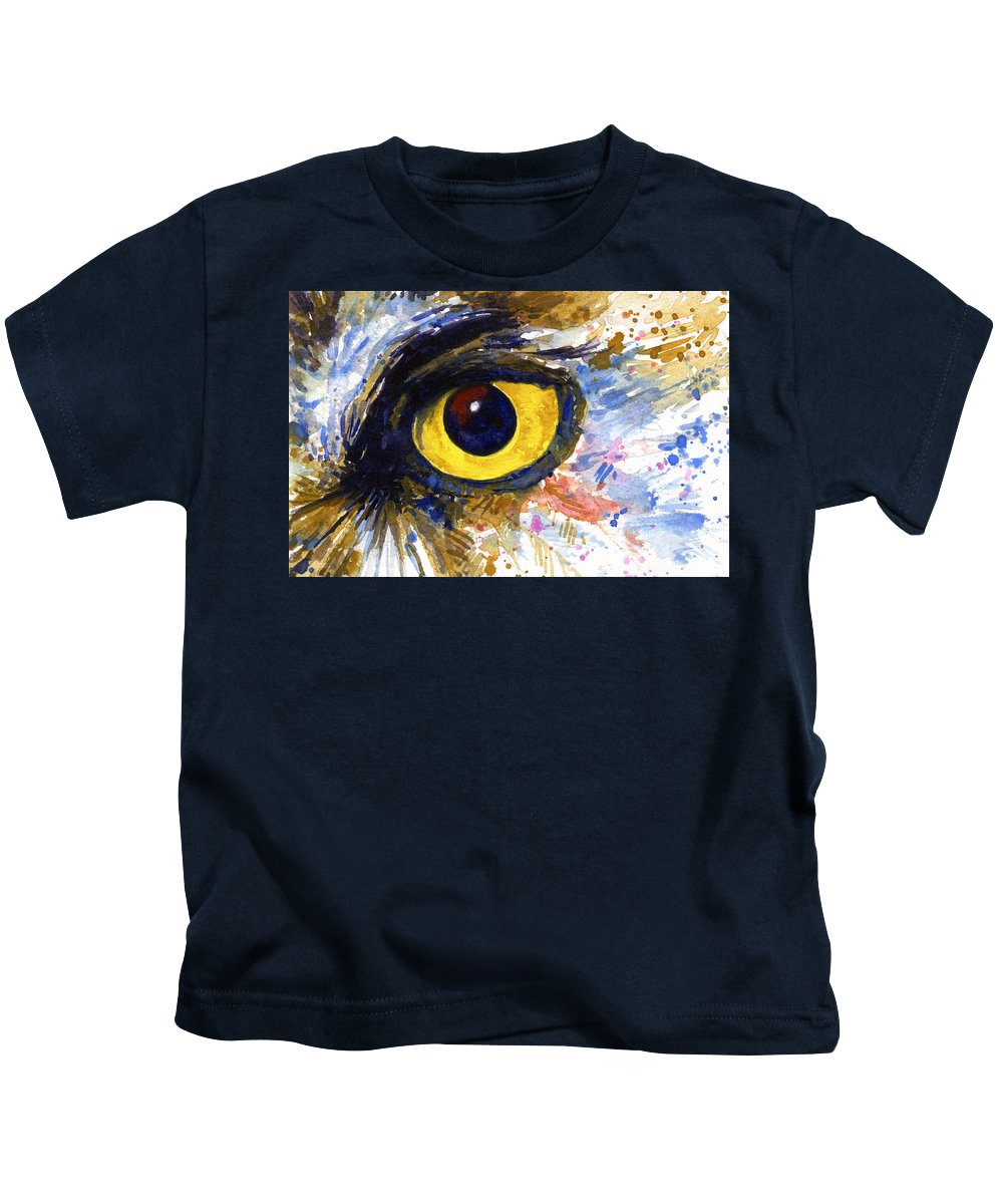 Owls Kids T-Shirt featuring the painting Eyes of Owl's No.6 by John D Benson