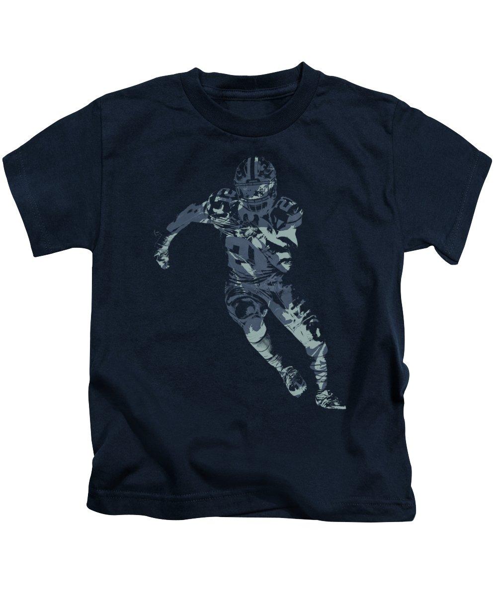 Ezekiel Elliott Kids T-Shirt featuring the mixed media Ezekiel Elliott  Cowboys Pixel Art T 2ee8a311c