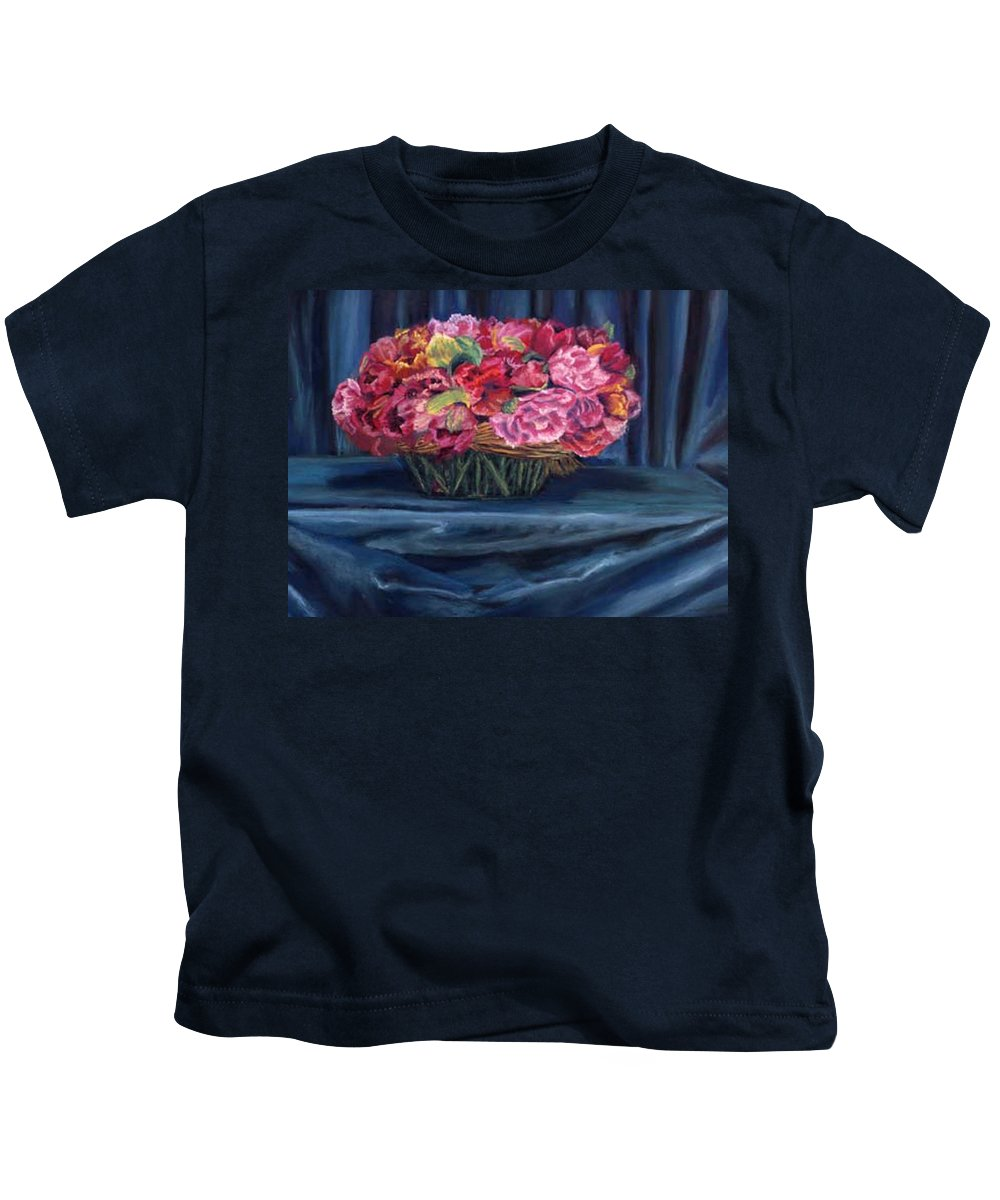 Flowers Kids T-Shirt featuring the painting Fabric And Flowers by Sharon E Allen
