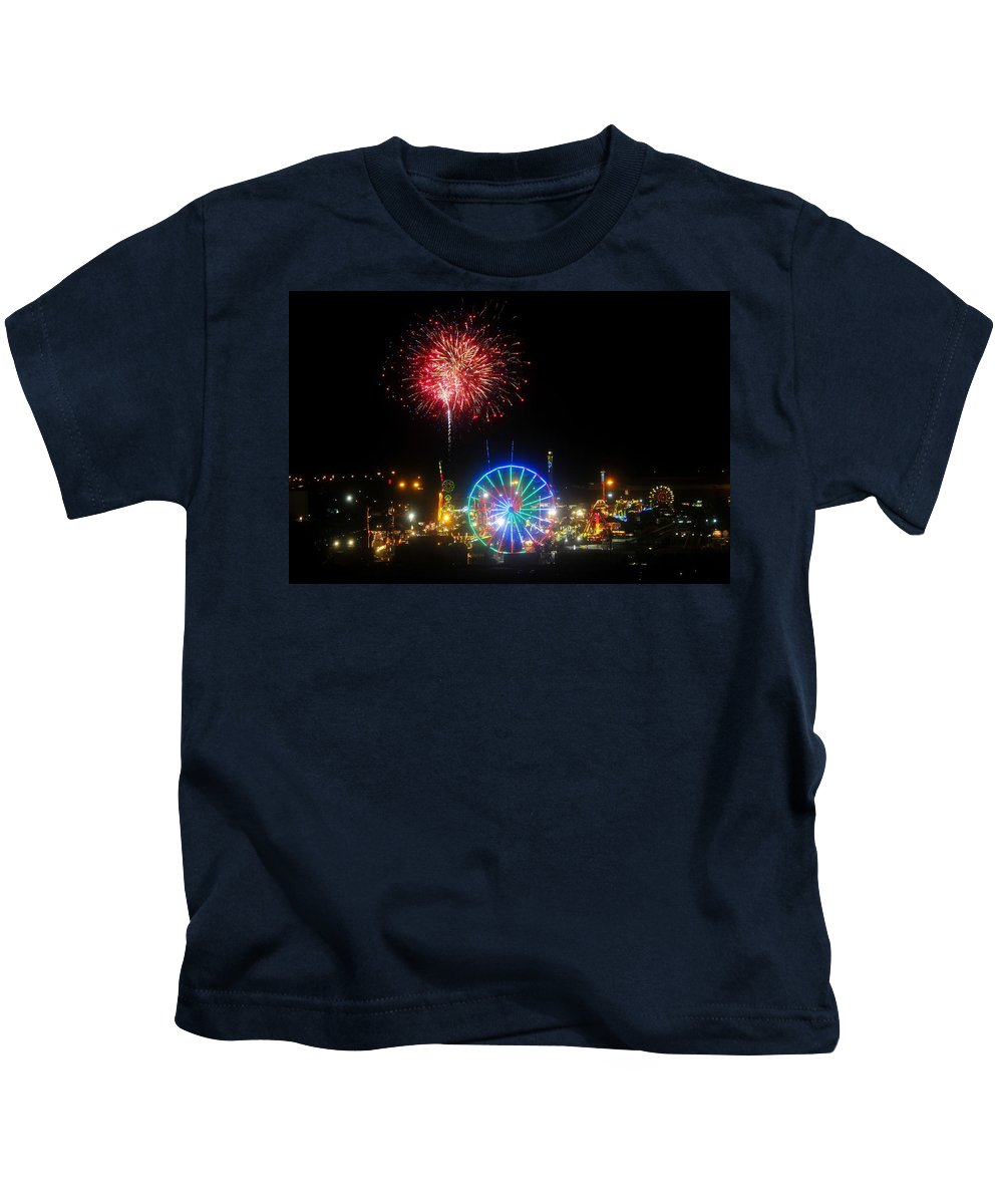 Fireworks Kids T-Shirt featuring the photograph Fair Fireworks by David Lee Thompson