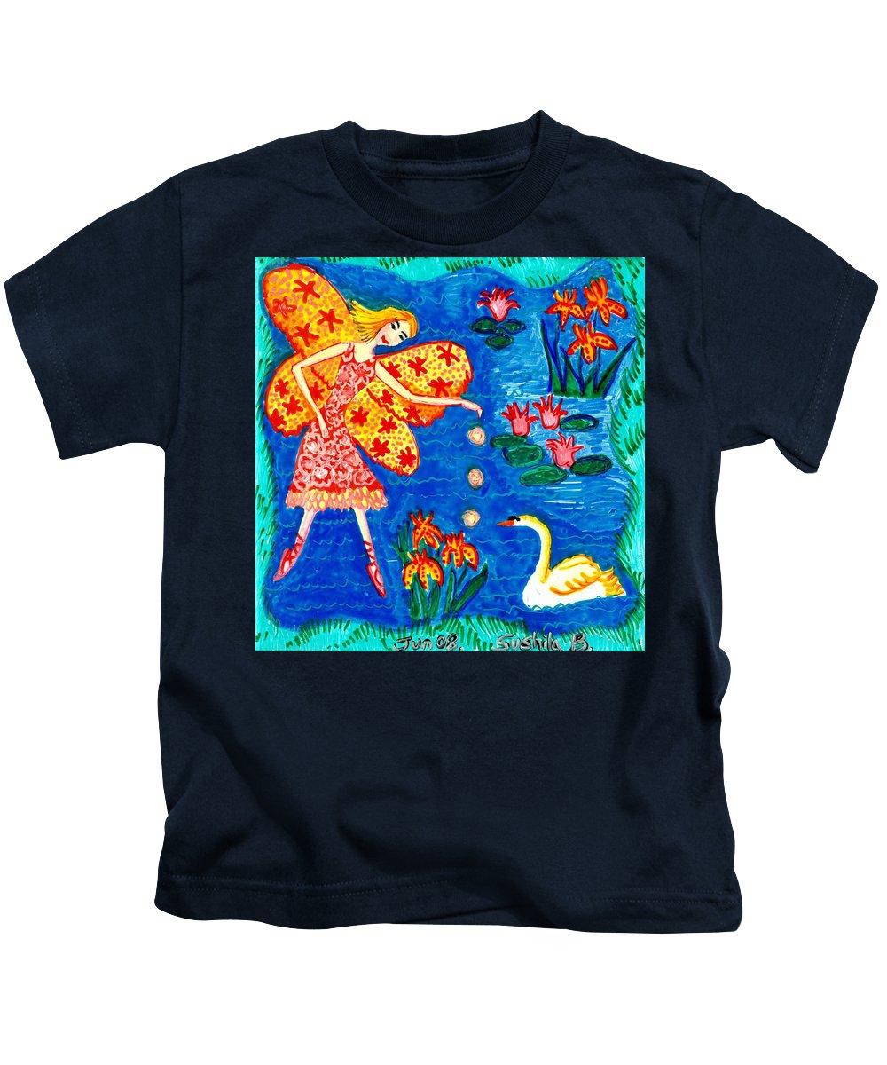 Sue Burgess Kids T-Shirt featuring the painting Fairy Feeding Swan by Sushila Burgess