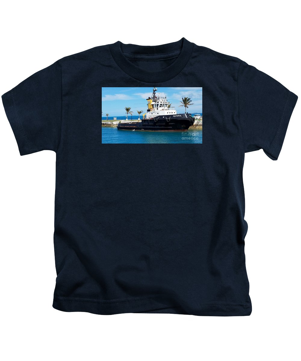 Bermuda Art Tugboat Iconic Vessel Kings Wharf Transportation Boat Portrait Outdoors Travel Warm Harbor Scene Nautical Souvenir Palm Trees Blue Skies Serenity Metal Frame Wood Print Canvas Print Poster Print Available On Pouches Shower Curtains Phone Cases T Shirts Tote Bags Greeting Cards Weekender Tote Bags And Mugs Kids T-Shirt featuring the photograph Faithfully Yours, Bermuda by Marcus Dagan
