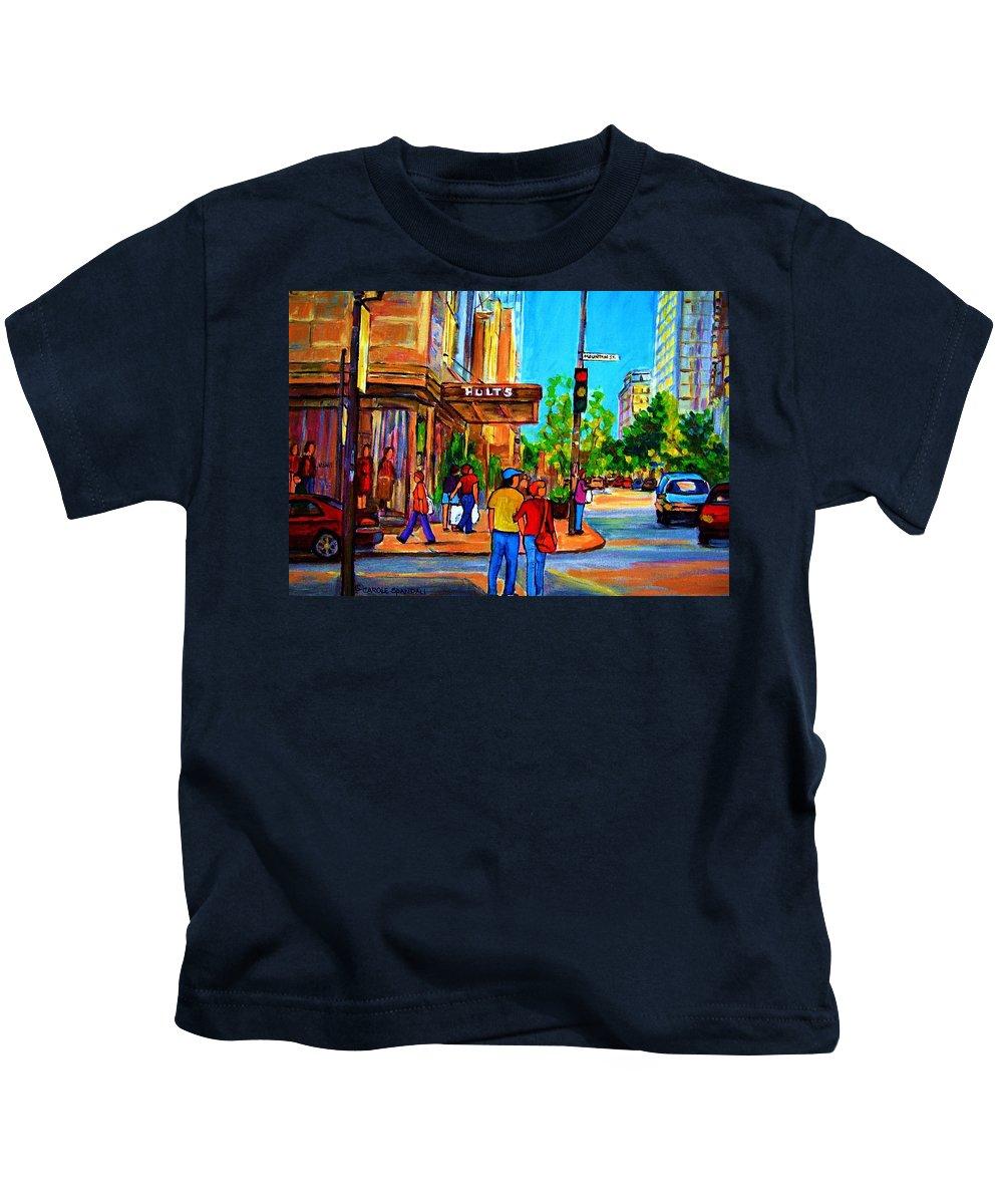 Holt Renfrew Kids T-Shirt featuring the painting Fashionable Holt Renfrew by Carole Spandau