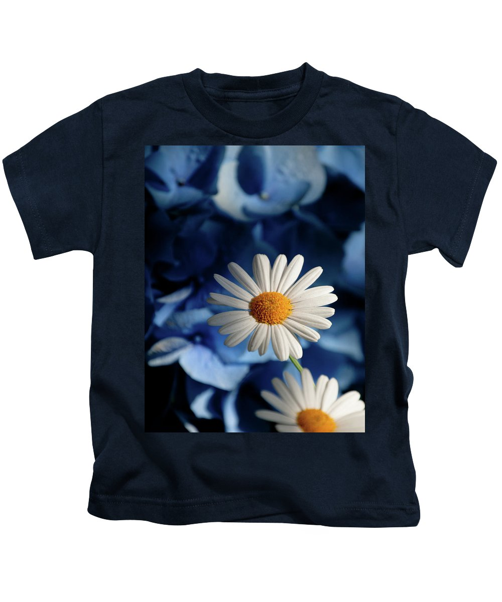 Daiy Kids T-Shirt featuring the photograph Feeling Blue Daisies by Trish Tritz