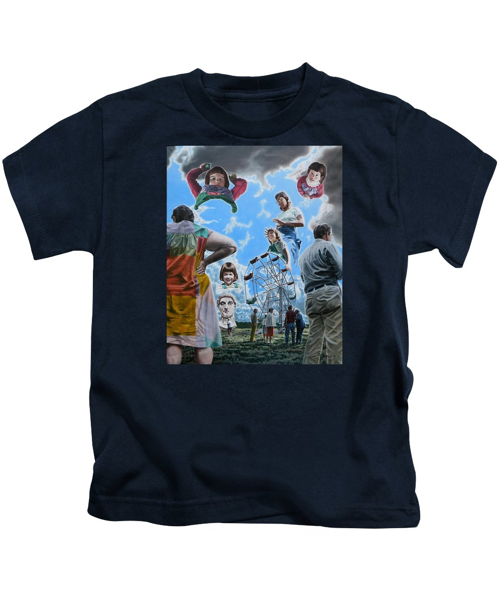 Woman Kids T-Shirt featuring the painting Ferris Wheel by Dave Martsolf