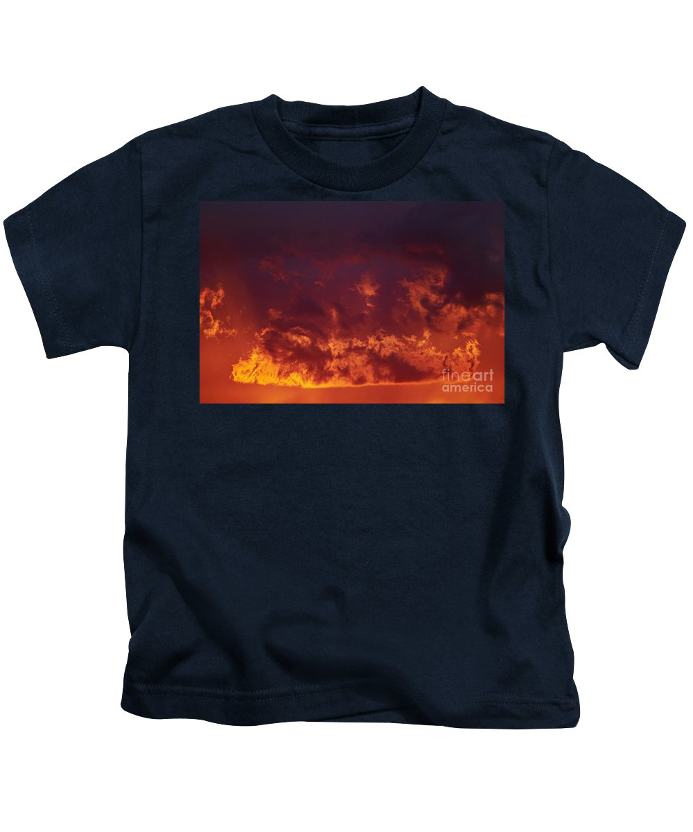 Sunset Kids T-Shirt featuring the photograph Fiery Clouds by Michal Boubin