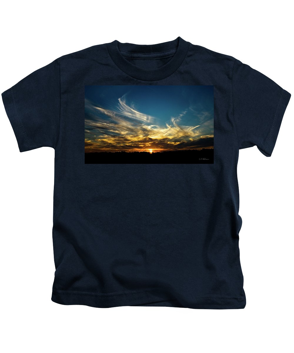 Sunset Kids T-Shirt featuring the photograph Fiery Sunset by Christopher Holmes