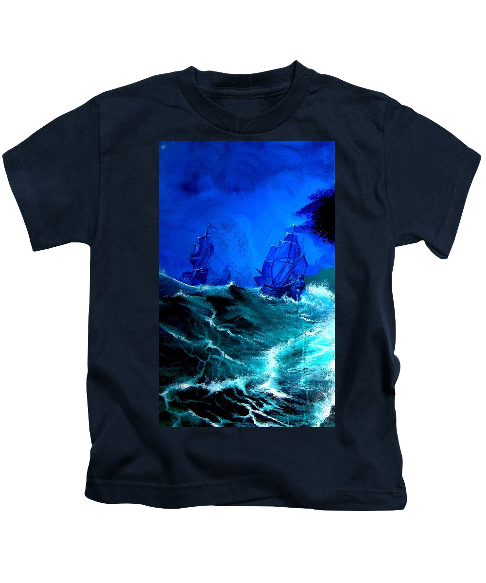 Seascape Kids T-Shirt featuring the painting Fight For Life by Glory Fraulein Wolfe