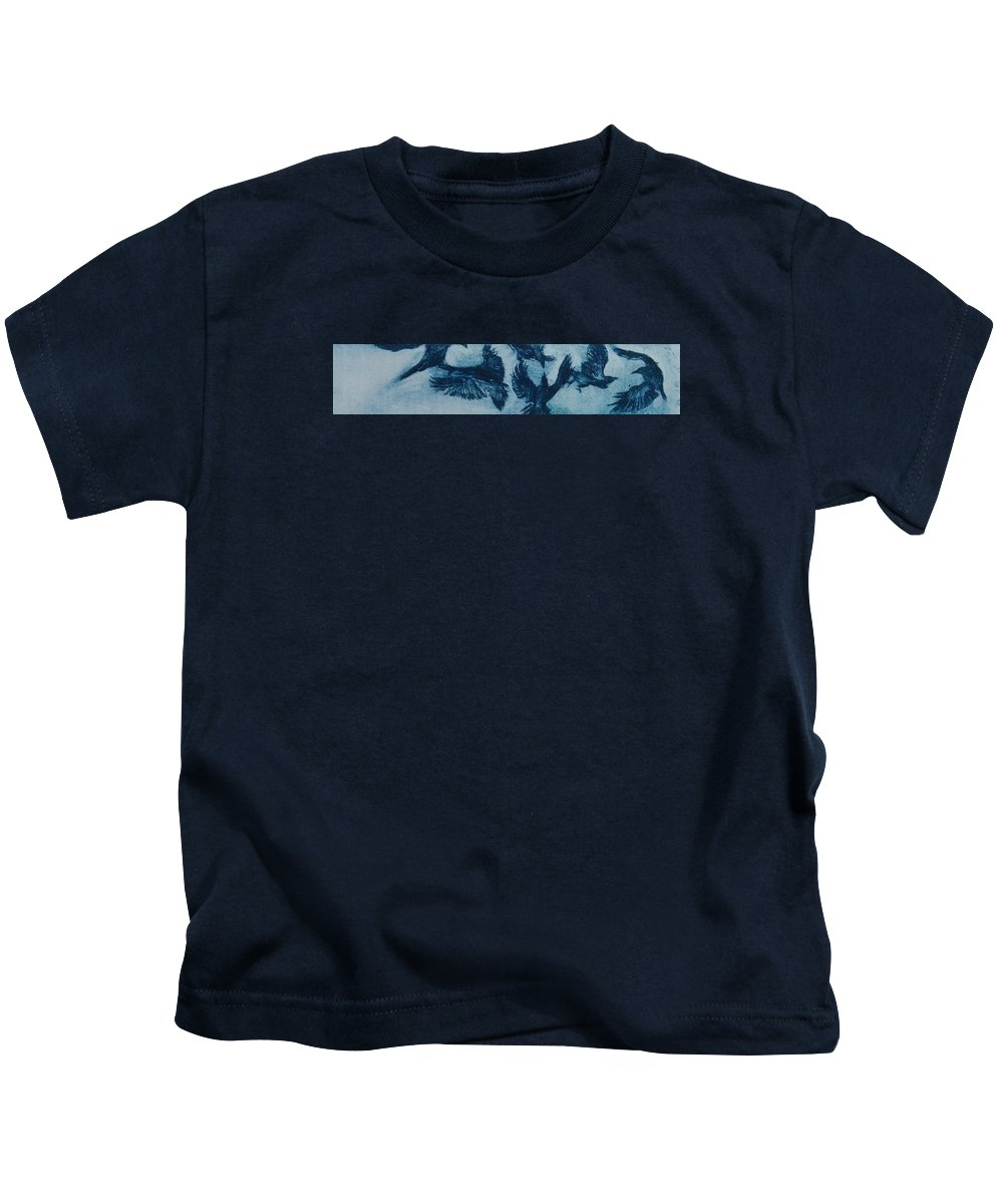Drypoint Etching Ravens Prussian Blue Kids T-Shirt featuring the drawing Fight by Sylvie Boersma