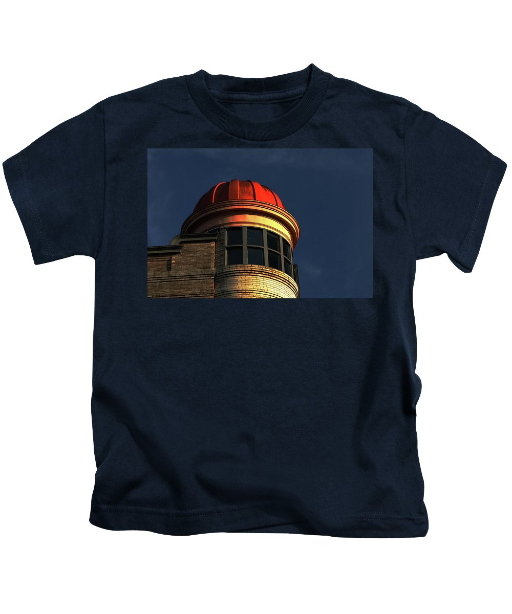 Building Kids T-Shirt featuring the photograph Fire Helmet Building by Karol Livote