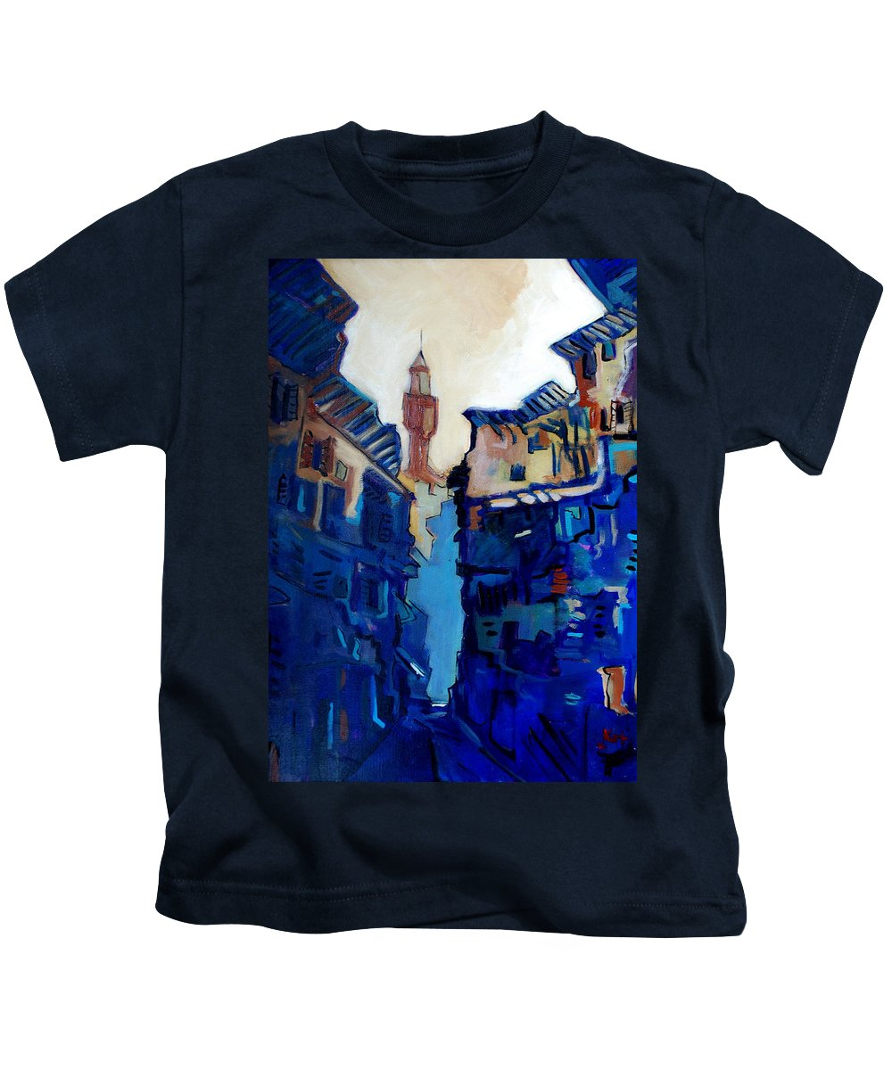 Florence Kids T-Shirt featuring the painting Firenze Street Study by Kurt Hausmann