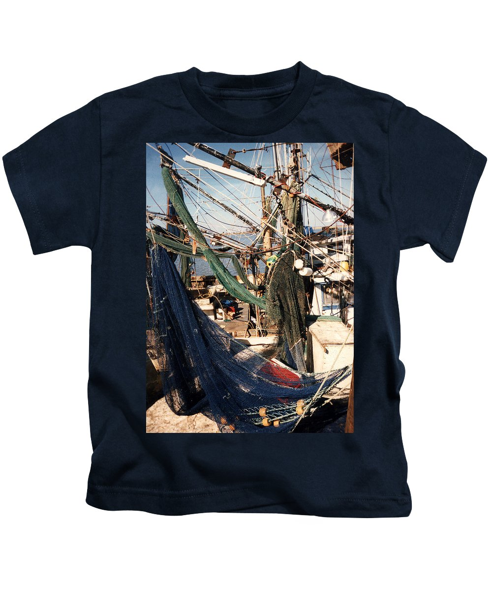 Shrimp Kids T-Shirt featuring the photograph Fishing Nets by Anne Cameron Cutri