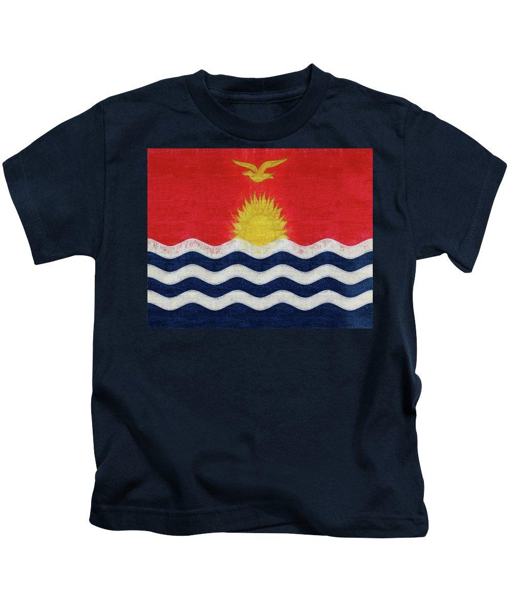 Kiribati Kids T-Shirt featuring the digital art Flag Of Kiribati Texture by Roy Pedersen