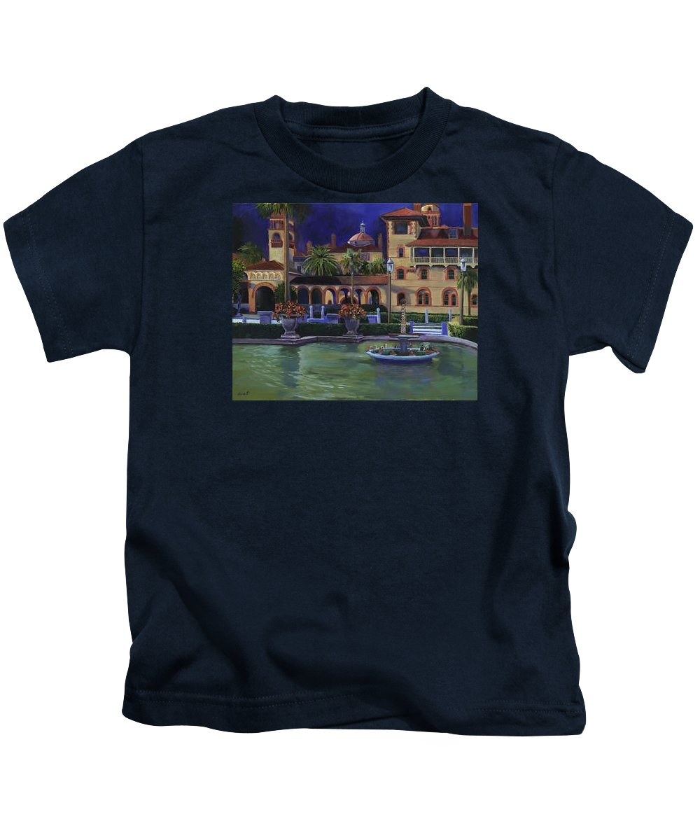 St. Augustine\'s Flagler College Campus Kids T-Shirt featuring the painting Flagler College II by Christine Cousart