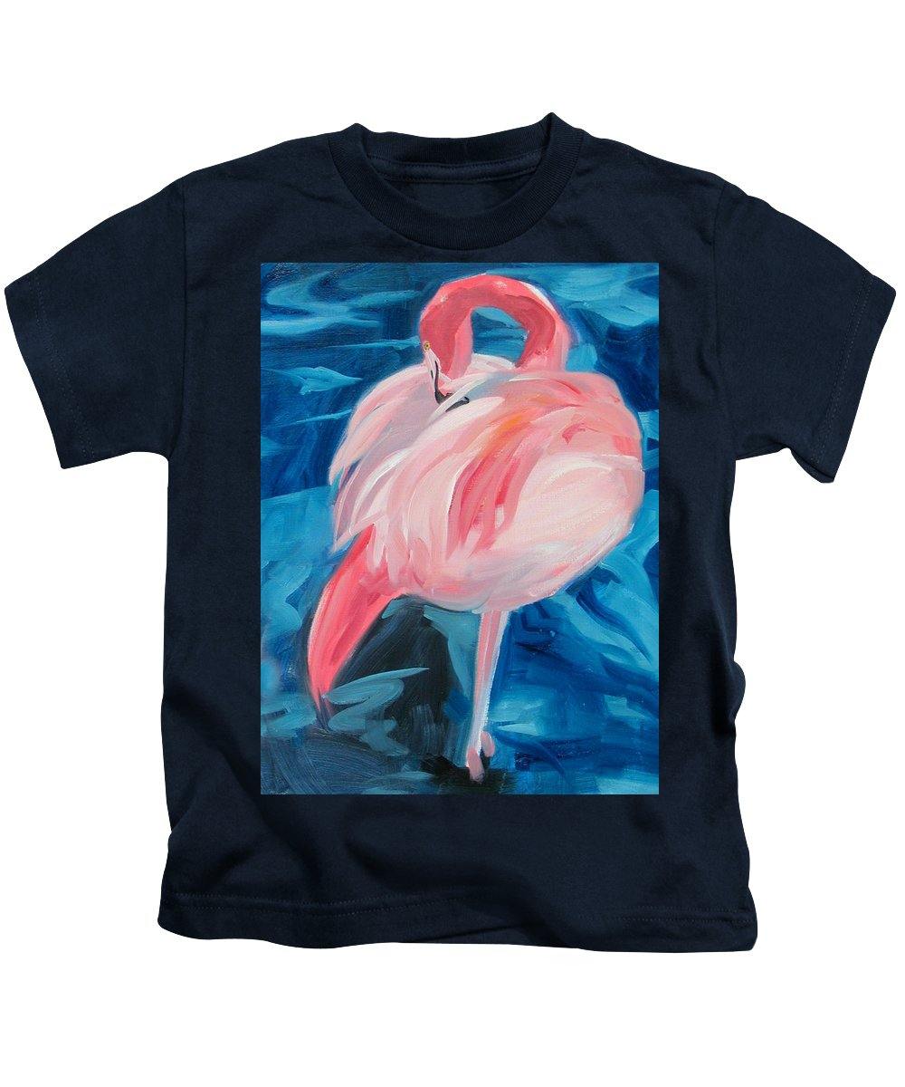 Tropical Kids T-Shirt featuring the painting Flamingo by Neal Smith-Willow