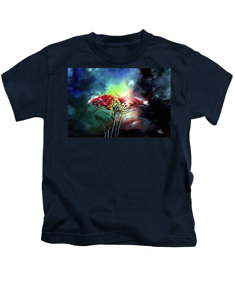 Nature Kids T-Shirt featuring the painting Flowers by Anil Nene