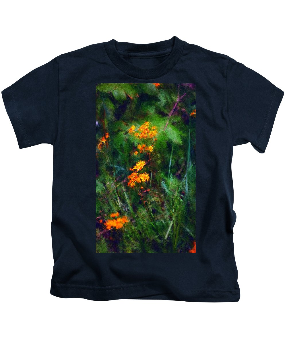 Digital Photography Kids T-Shirt featuring the digital art Flowers In The Woods At The Haciendia by David Lane