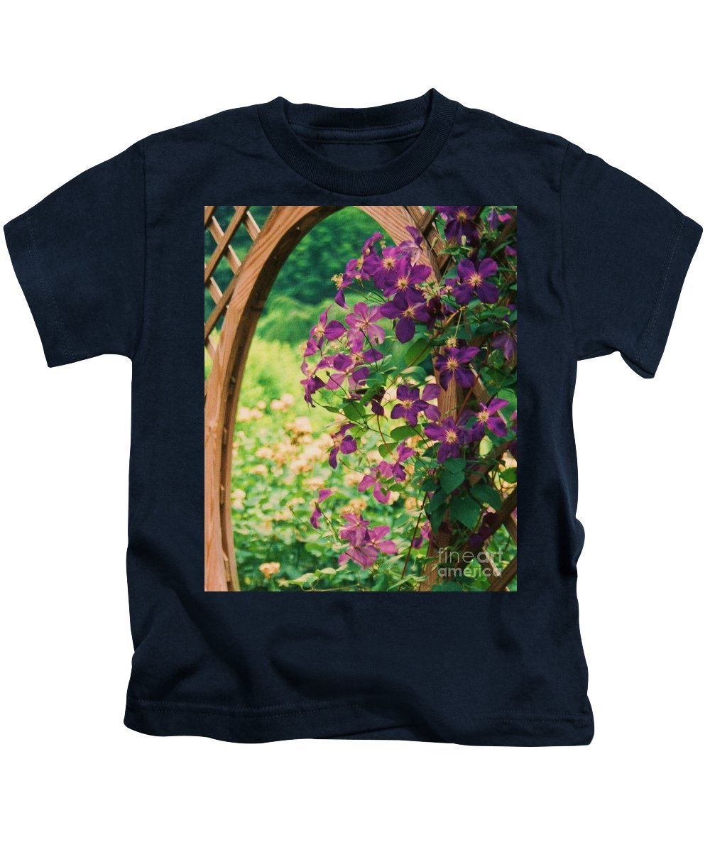 Floral Kids T-Shirt featuring the painting Flowers On Vine by Eric Schiabor