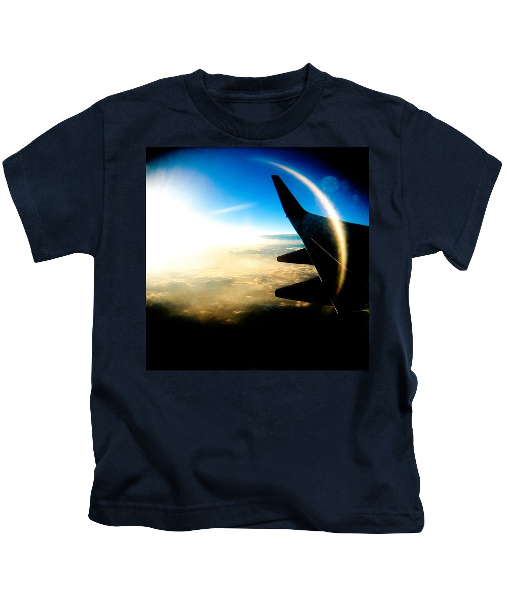 Plane Sky Sun Holga Color Photograph Kids T-Shirt featuring the photograph Fly Like A Dolphin by Olivier De Rycke
