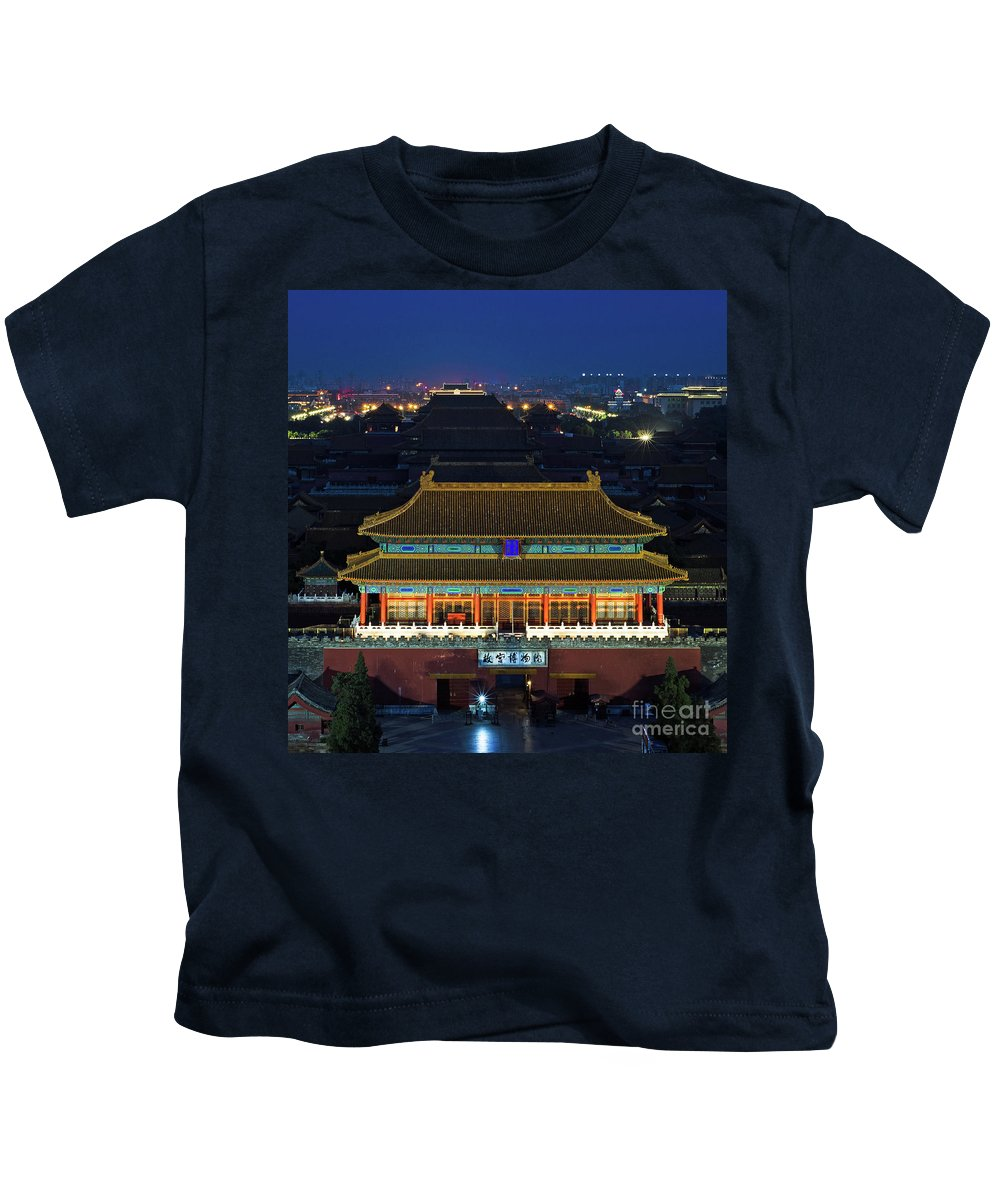 Beijing Kids T-Shirt featuring the photograph Forbidden City By Night by Paul Martin