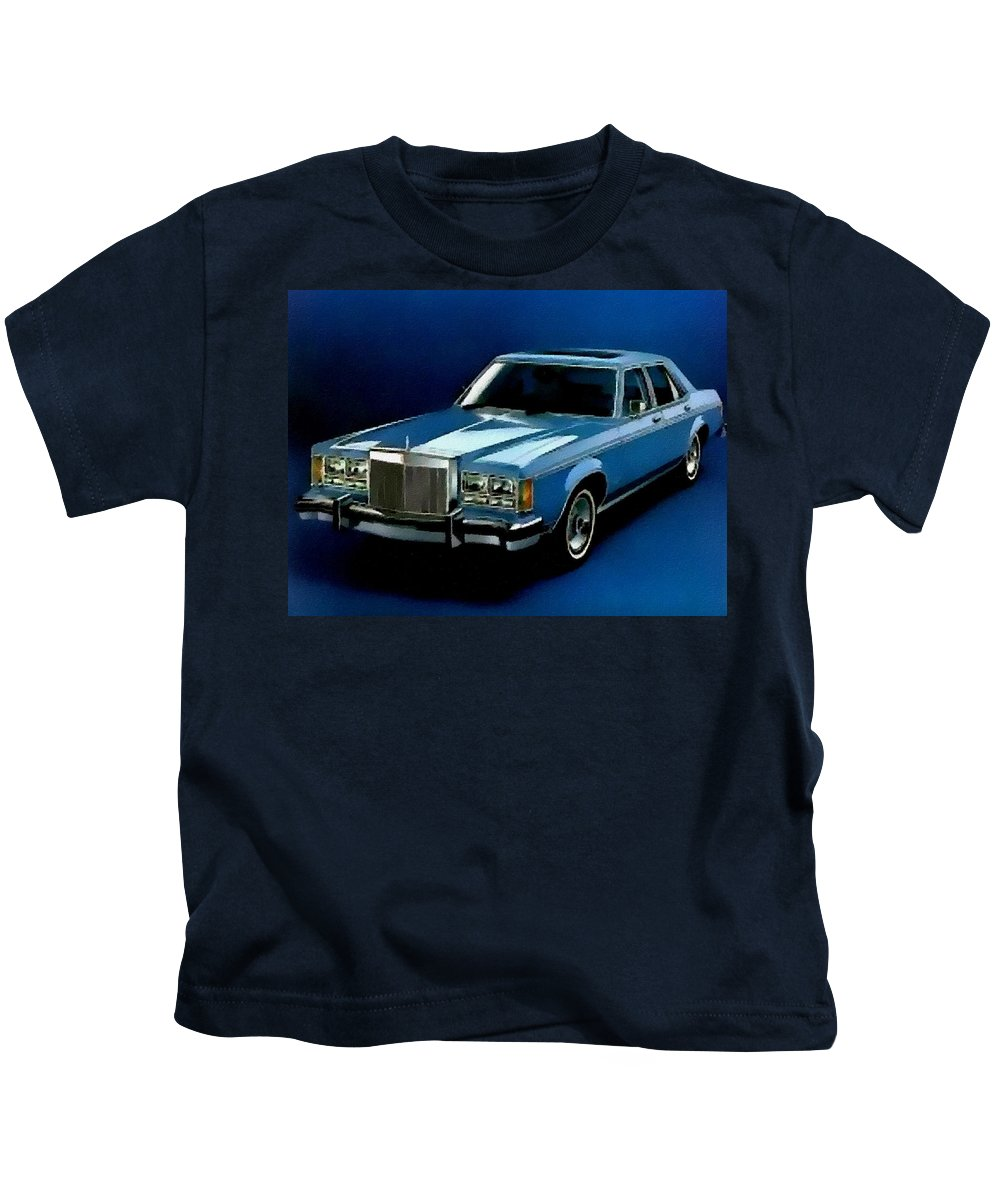 Announcement Kids T-Shirt featuring the painting Ford Lincoln Versailles 1981 - American Dream Cars Catus 1 No. 2 H B by Gert J Rheeders