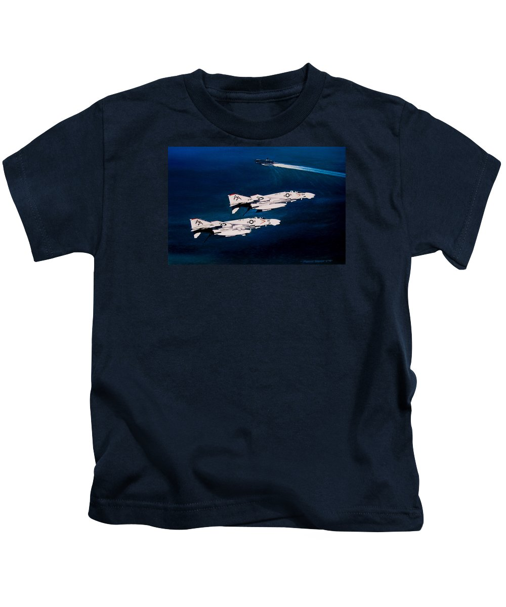 Military Kids T-Shirt featuring the painting Forrestal S Phantoms by Marc Stewart