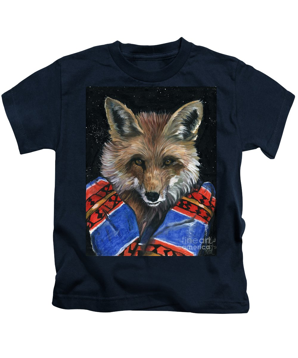 Fox Kids T-Shirt featuring the painting Fox Medicine by J W Baker