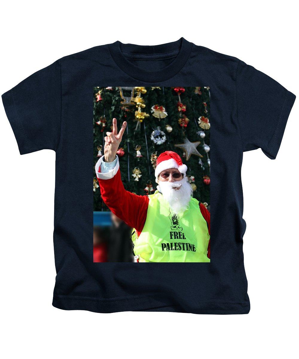 Free Kids T-Shirt featuring the photograph Free Palestine Santa by Munir Alawi