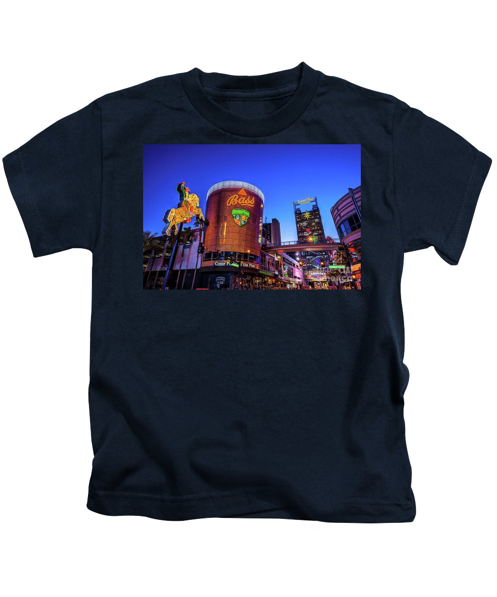 Fremont Street Kids T-Shirt featuring the photograph Fremont Street Entrance From The East At Dusk by Aloha Art