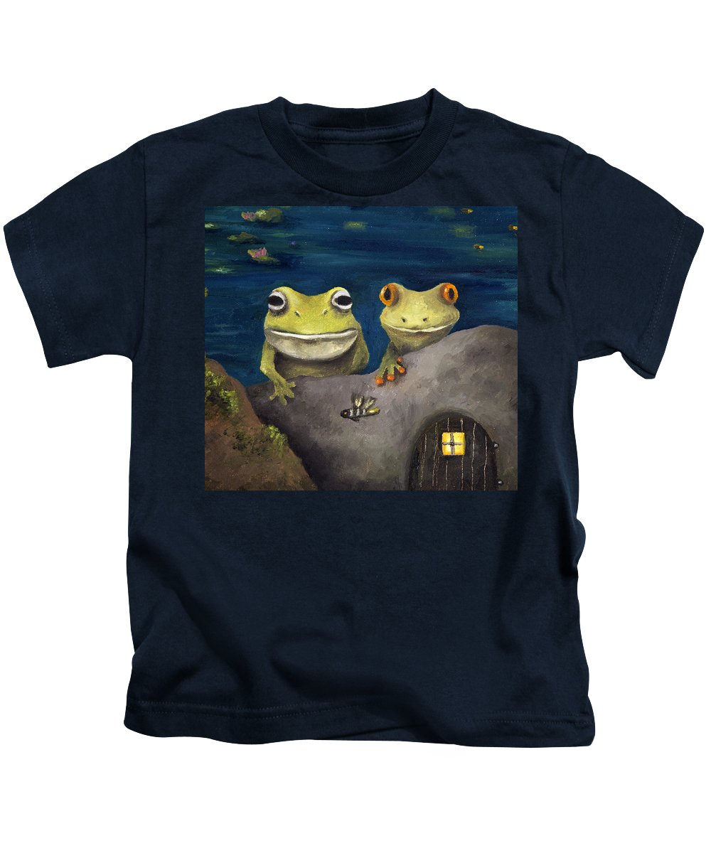 Frog Kids T-Shirt featuring the painting Frogland Detail by Leah Saulnier The Painting Maniac