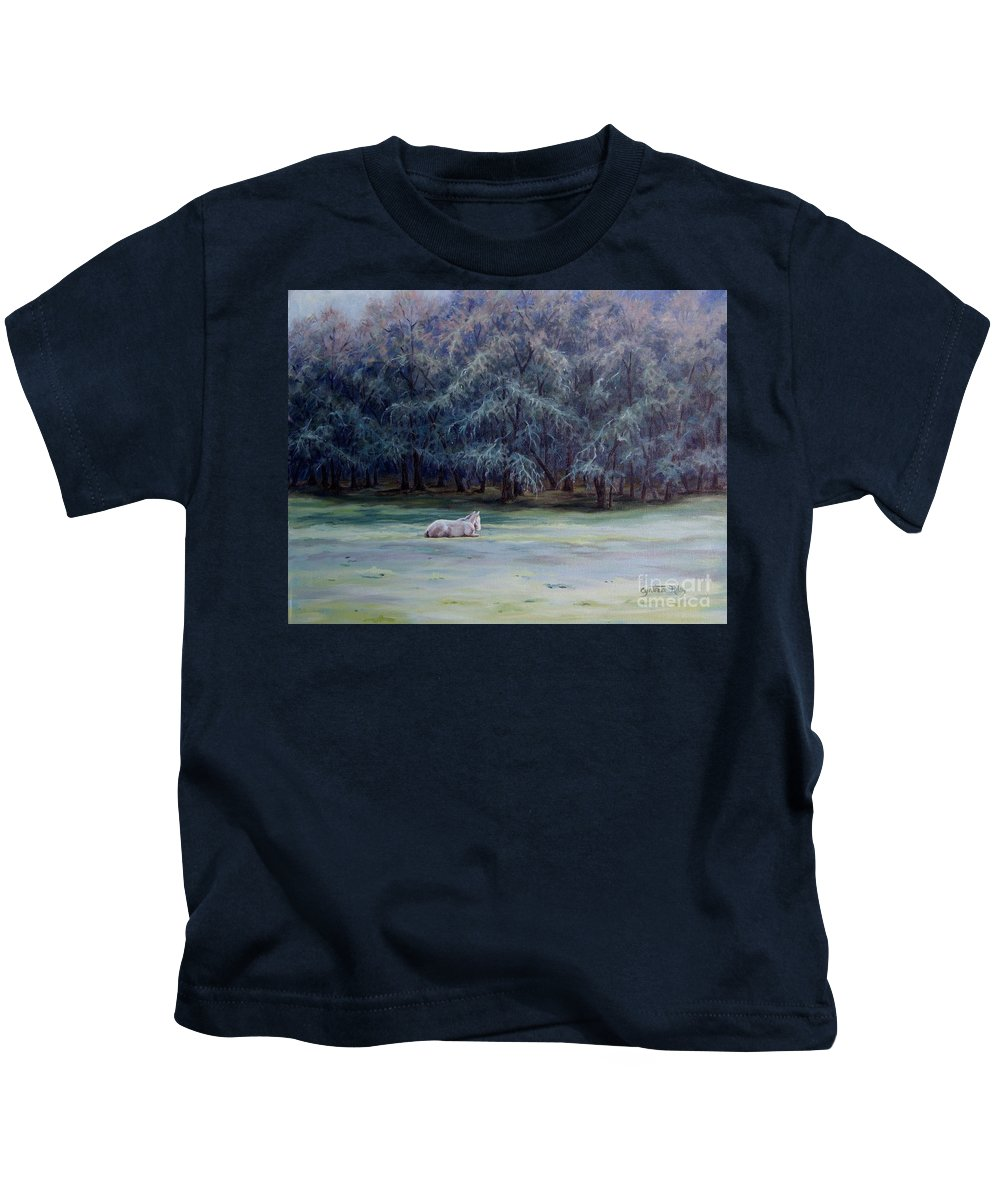 Horse Oil Painting Kids T-Shirt featuring the painting Frosty Morning by Cynthia Riley