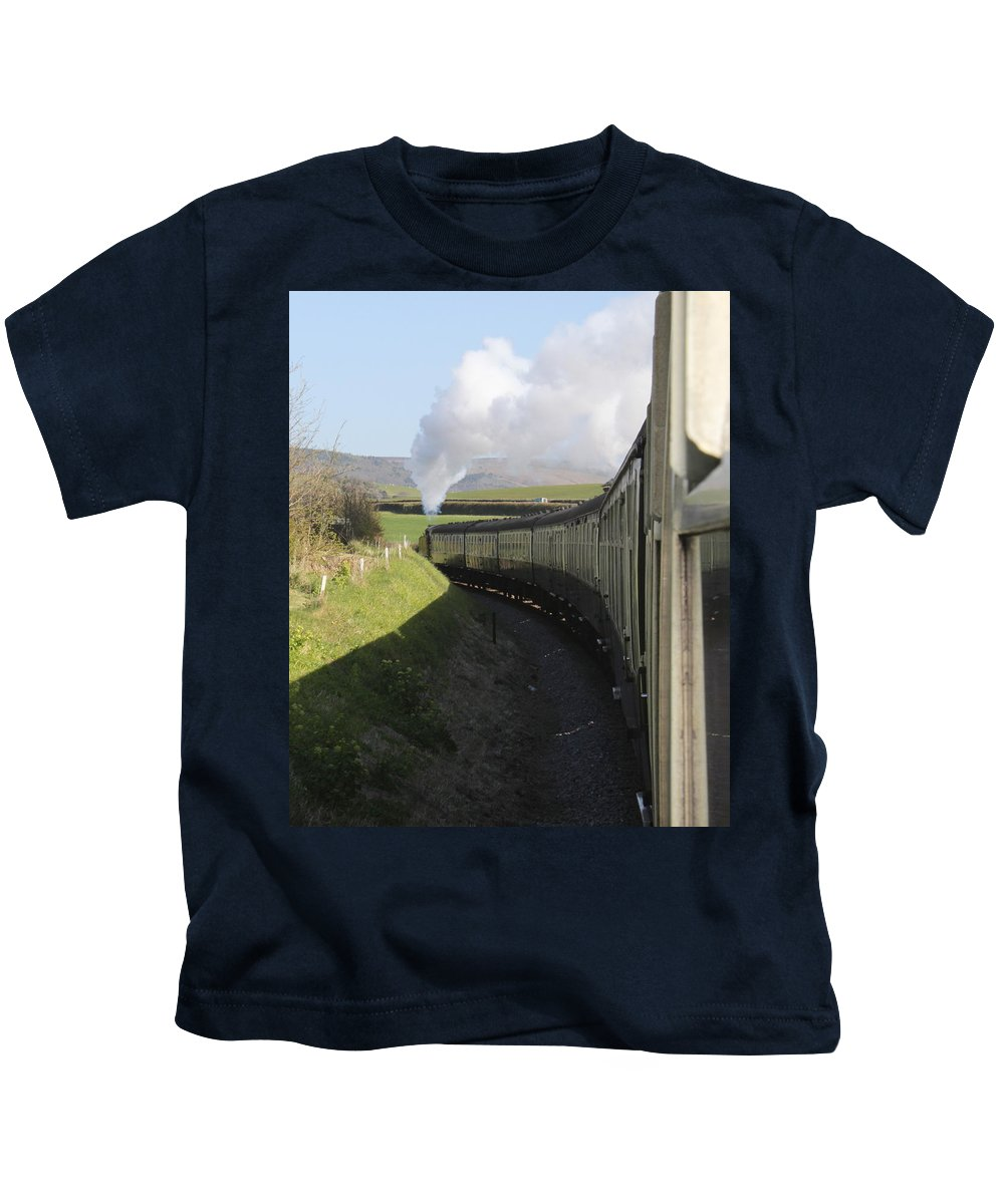 Steam Train Kids T-Shirt featuring the photograph Full Steam Ahead by Lauri Novak
