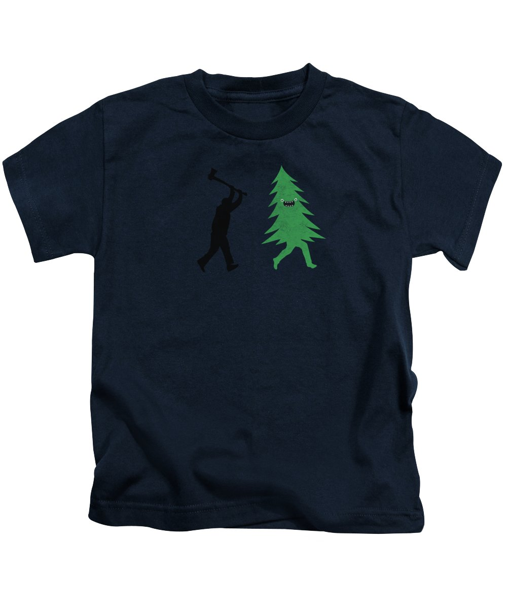 Cute Kids T-Shirt featuring the digital art Funny Cartoon Christmas Tree Is Chased By Lumberjack Run Forrest Run by Philipp Rietz