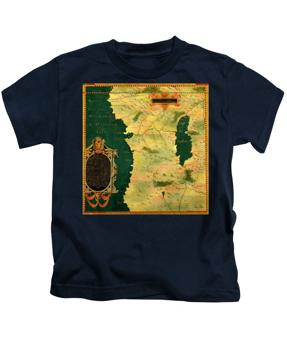 Map Kids T-Shirt featuring the painting Gabon, Angola And Congo by Italian painter of the 16th century