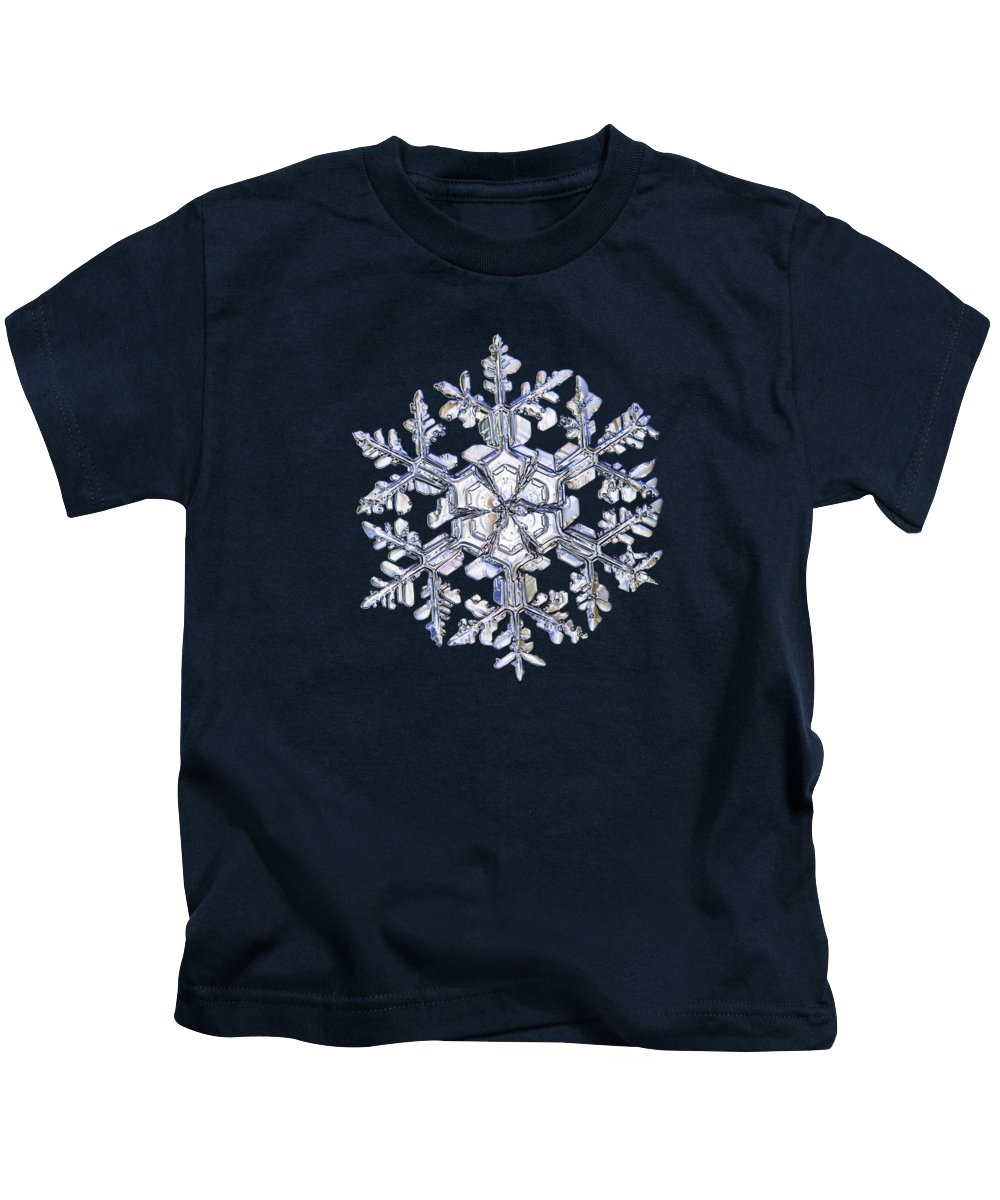 Snowflake Kids T-Shirt featuring the photograph Gardener's Dream, White On Black Version by Alexey Kljatov