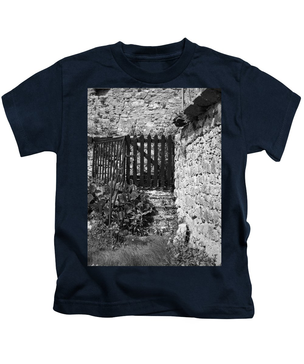 Irish Kids T-Shirt featuring the photograph Gate At Dunguaire Castle Kinvara Ireland by Teresa Mucha