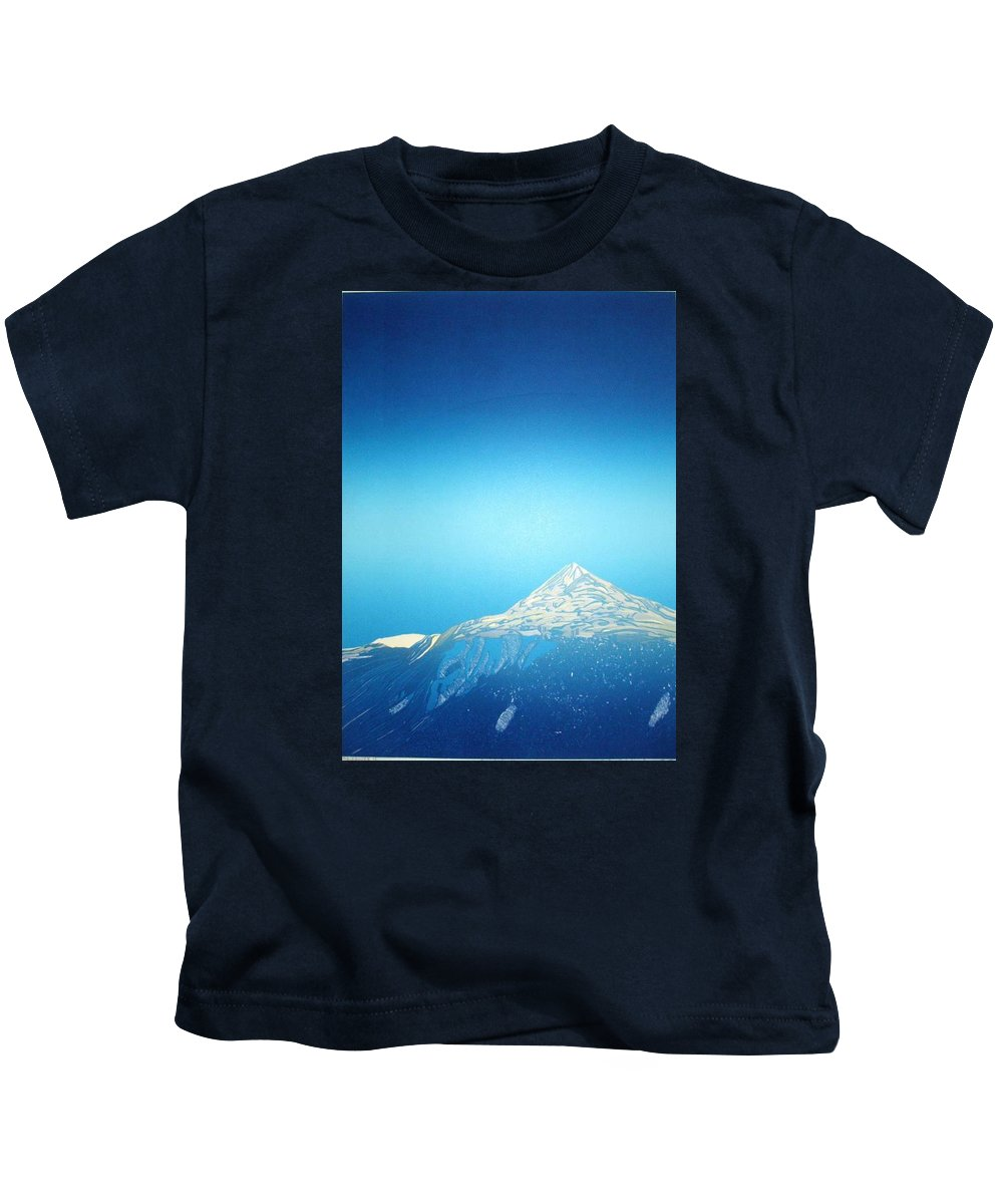 Kids T-Shirt featuring the drawing Gaustatoppen. by Jarle Rosseland